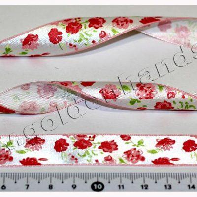 Лента атласная 19 мм с цветочками, 1м