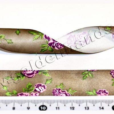 Лента атласная 25 мм с цветочками (Арт: 2.6-038), 1м