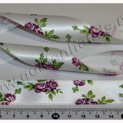 Лента атласная 25 мм с цветочками (Арт: 2.6-040), 1м
