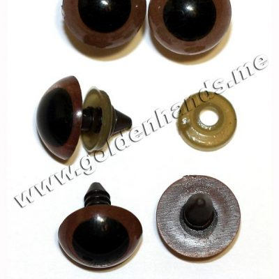 Глазки коричневые со зрачком винтовые, пластик 15 мм, 2 шт