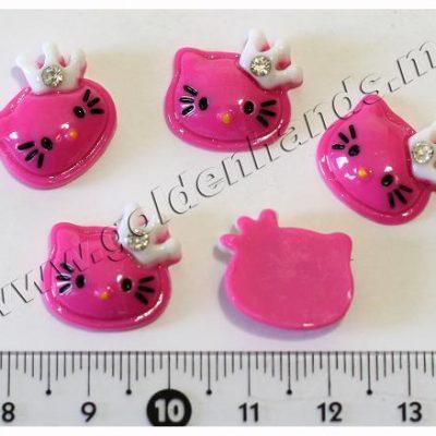 Камея Hello Kitty розовая яркая в короне со стразиком