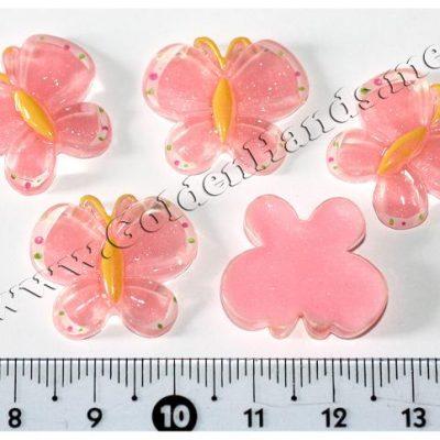 Камея БАБОЧКА розовая с блёстками