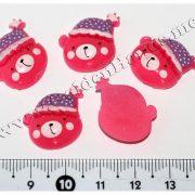 Камея МИШКА в шапочке, розовый 2 см