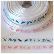Лента атласная It's a Boy / It's a Girl, белая 1 см