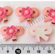 Камея БАНТИК с цветочком розовый 25 мм