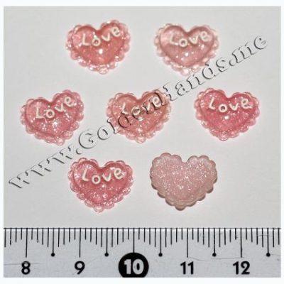 Камея ажурное сердце с блёстками розовое 12 мм