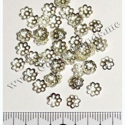 Шапочка для бусин серебро 6 мм (АРТ: 7.1-С-015), 10 шт
