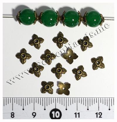 Шапочка для бусин «4 листика» бронза 6 мм (АРТ: 7.1-С-016), 10 шт