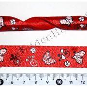 Лента атласная «бабочки и цветы» КРАСНАЯ, 2 см