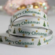 Тесьма репсовая Merry Christmas серая
