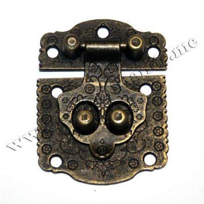 Замок для шкатулок 53х40 мм, бронза