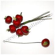Яблочки 19 мм с листиком красные на проволоке