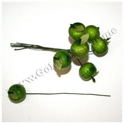 Яблочки 19 мм с листиком зелёные на проволоке