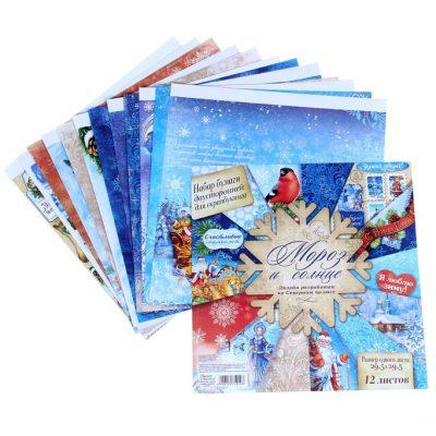 Бумага двухсторонняя 30х30 см «Мороз и солнце»