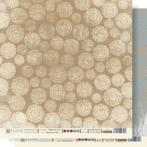 Бумага Fleur Design двухсторонняя, КРАФТОВАЯ ЗИМА, узоры