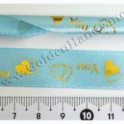 Лента атласная с золотыми сердцами, голубая/красная, 15 мм
