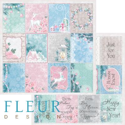 Бумага Fleur двухсторонняя 30х30 см Новогодняя сказка