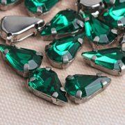 Стразы пришивные в оправе «Капля», зелёный